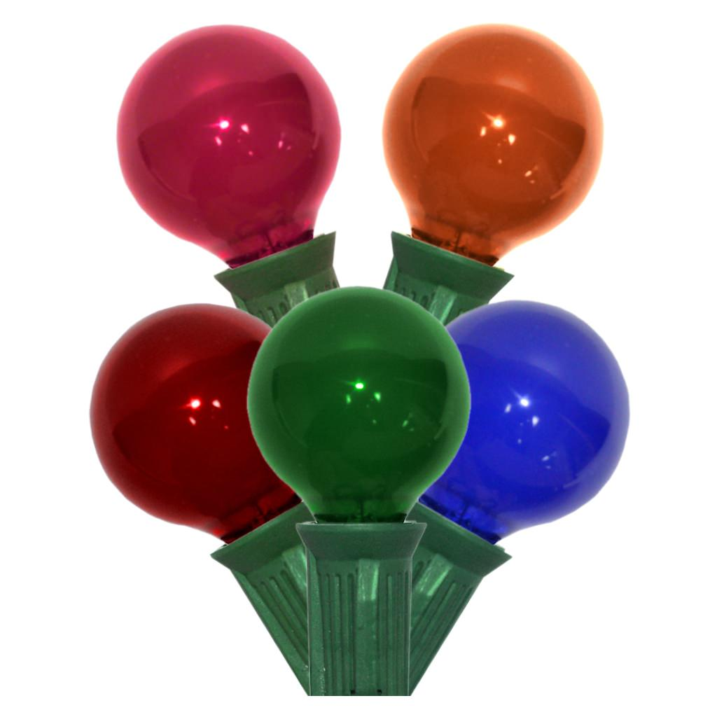 Globe String Lights Multi Colored Satin G30 Bulbs Green Cord by Sival