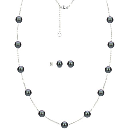 """Image of 6mm x 7mm Black Cultured Freshwater Pearl Sterling Silver Station Necklace and Matching Earring Set, 18"""" with 2"""" Extender"""