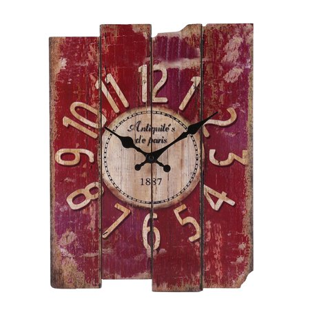 Creative Retro Style Square Hanging Clock Delicate Wall Clock for Living Room Bar - Red (Bai Wall Clock)
