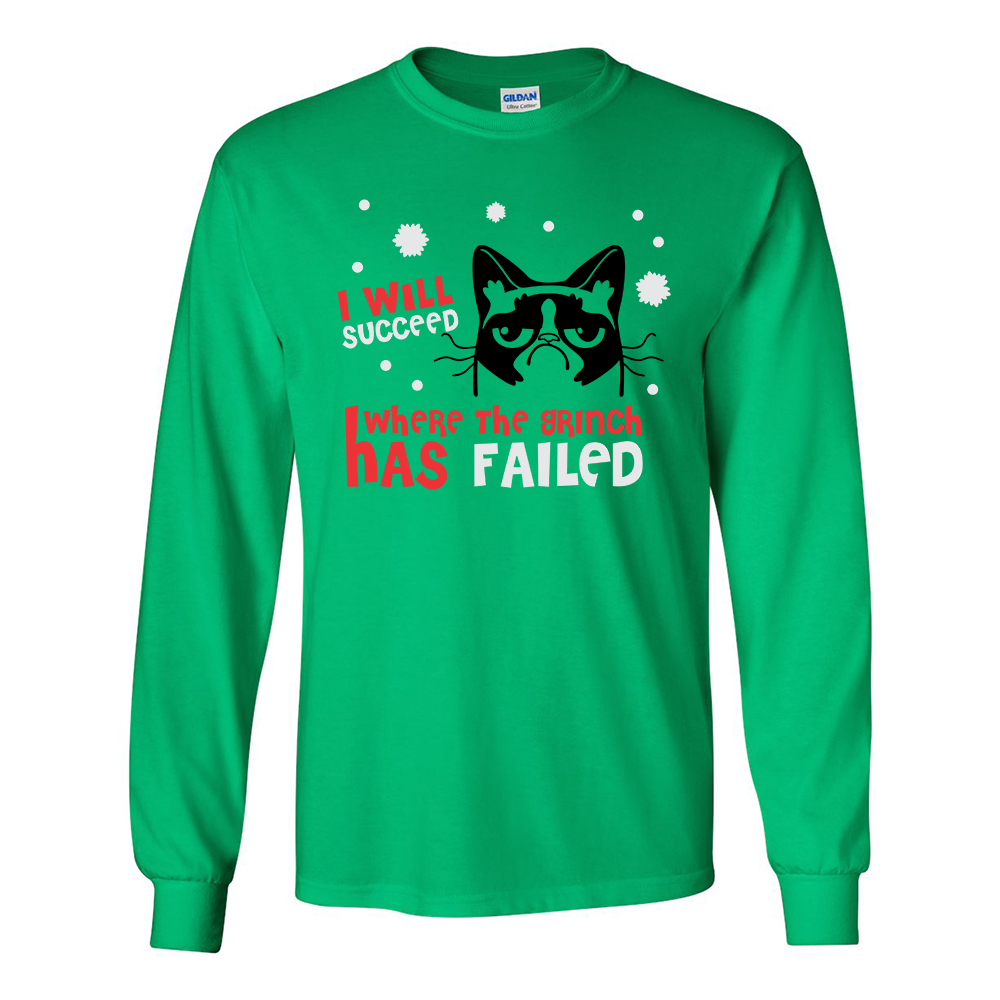 "Grumpy Cat ""I Will Succeed Where the Grinch has Failed"" Men's Shirt"
