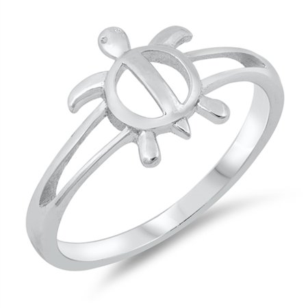 Tropical Turtle Hawaiian Style Filigree Ring 925 Sterling Silver Band Size 10