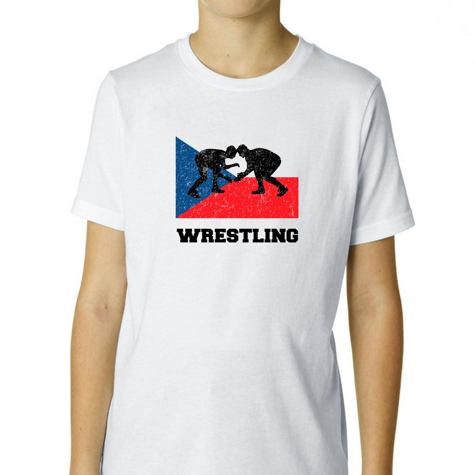 Czech Republic Olympic Wrestling Flag Silhouette Boy's Cotton Youth T-Shirt by Hollywood Thread