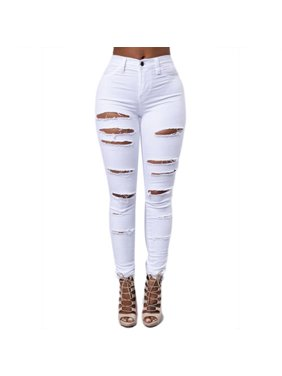 1519ba8405f Product Image Women High Waisted Stretch Ripped Skinny Jeans Butt Lift  Distressed Denim Long Pants