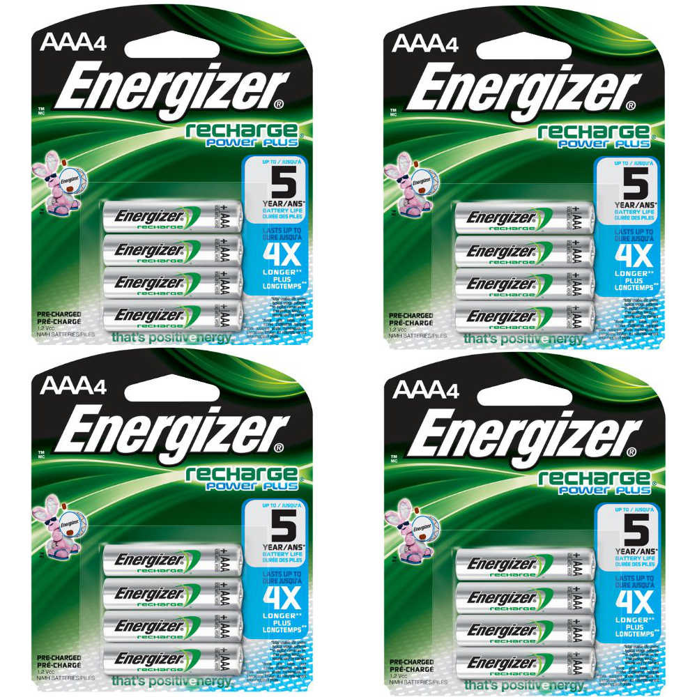 Energizer AAA Rechargeable Batteries 4 Pack, 4 Count = 16 Batteries by