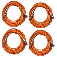 Seismic Audio 4 Pack of Orange 20 Foot Right Angle to Straight Guitar Instrument Cables Orange - SAGC20R-Orange-4Pack