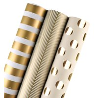 "LaRibbons Gift Wrapping Paper Roll Gold Collection - 3 Rolls 30""x 120""/Roll"