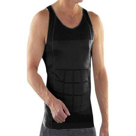 TopTie Mens Slimming Body Shaper Vest Shirt Abs Abdomen Slim, Compression Muscle Tank-Black-L