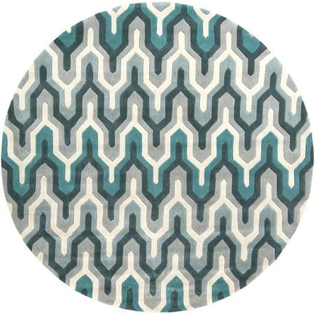 8' Egyptian Tefnut Teal Blue and Gray Hand Round Tufted Area Throw Rug ()