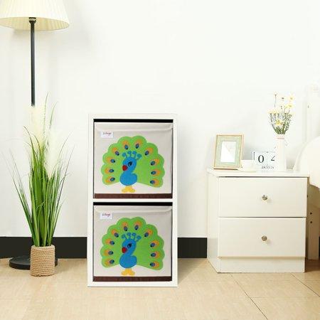 "Foldable Cartoon Storage Bins Toy Box Cube Baskets Lid Green Peacock Pattern 13""x13""x13.6"" - image 4 de 8"