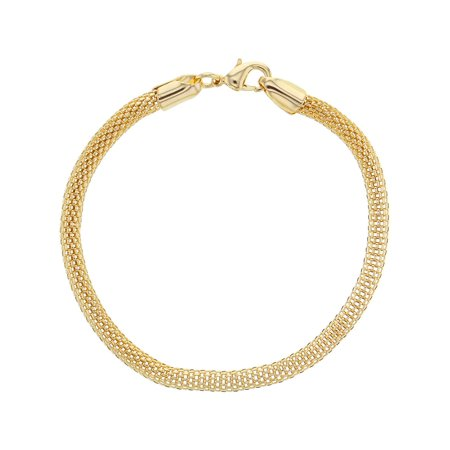 18k Gold Plated Classic Thick Mesh Tube Chain Womens Bracelet 7.5""
