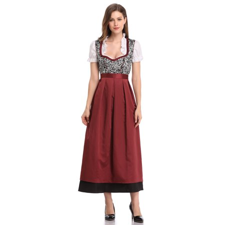 Oktober Fest Dress (Women's 3-Piece Long German Oktoberfest Dirndl)
