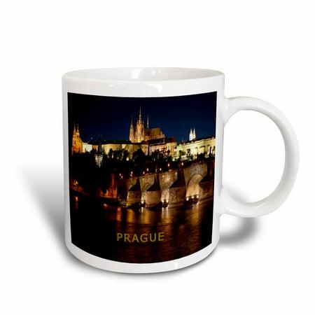 3dRose Prague Czech Republic At Night, Ceramic Mug, 15-ounce