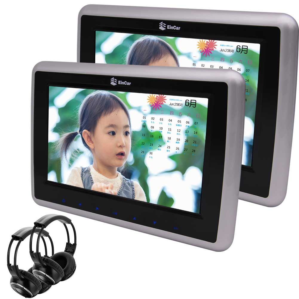 "Dual Car DVD Player 10.1"" Headrests 1080P Video Wide View LCD Screen Car Monitors Support FM IR,1024*600... by EinCar"