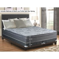 """WAYTON, 10"""" Meduim Firm Foam Encased Hybrid Eurotop Pillowtop Innerspring Mattress And 4"""" Split Wood Traditional Box Spring/Foundation Set, Good For The Back, Twin Size 74"""" x 38"""""""