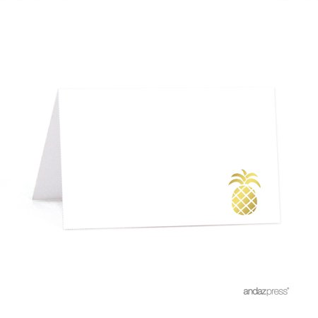 Paintable Part (Gold Ink Pineapple Party, 20-Pack Birthday Printable Table Tent Place Cards )