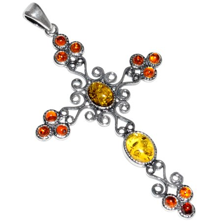 Amber 925 Sterling Silver Pendant (6.4g Authentic Baltic Amber 925 Sterling Silver Pendant Jewelry A281)