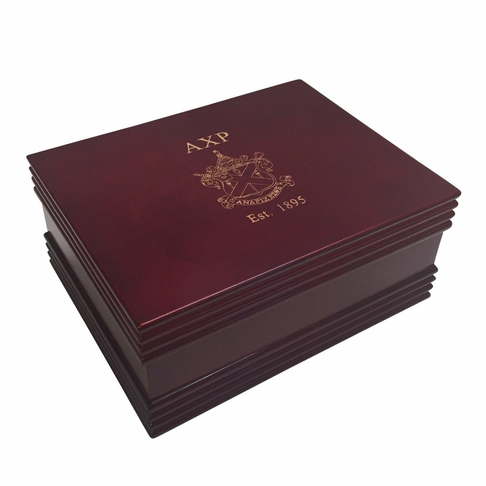 Alpha Chi Rho Giant Engraved Dark Wood Watch Box