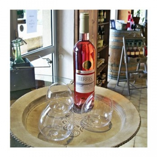 Taster Glass Around a Bottle of Ventoux Rose Poster Print (16 x 16)