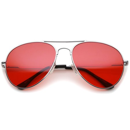 Classic Metal Frame Colored Teardrop Lens Aviator Sunglasses 57mm (Silver / Red)](Coloured Halloween Contact Lenses)