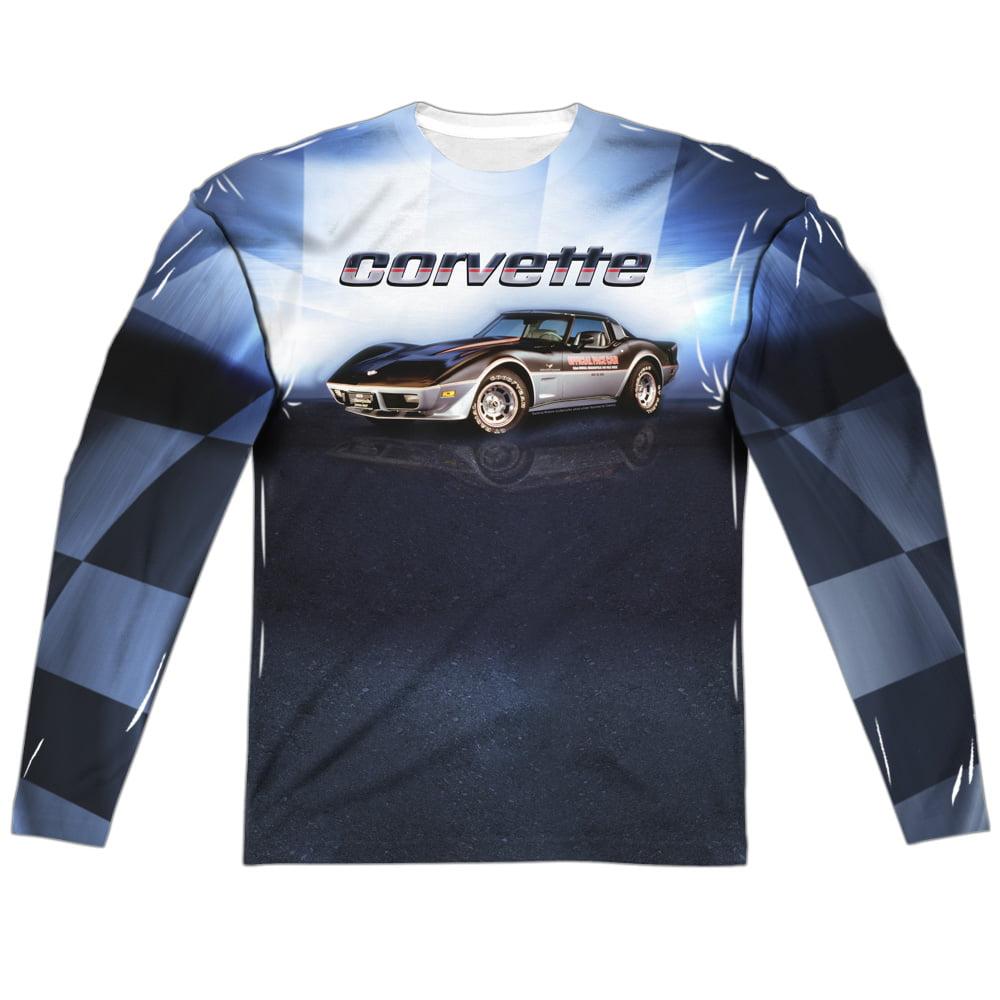 Blue Vette Check Flag Adult Long Sleeve T-Shirt Chevy