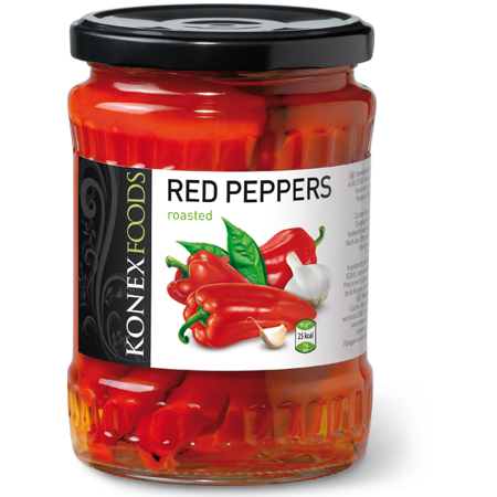 Roasted Red Peppers (KONEX) 19 oz (Mushroom Roasted Peppers)