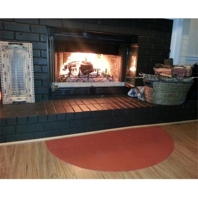 PyroProtecto 60 x 30 in. Half Circle Hearth Rug, Redwood by PyroProtecto