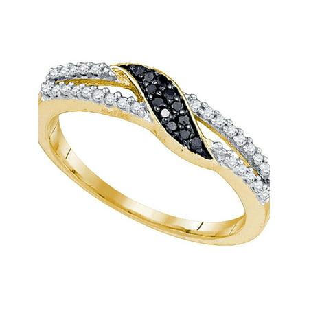 10k Yellow Gold Black Color Enhanced Diamond Womens Slender Unique Crossover Band Ring Unique 1/6 Cttw - image 1 de 1