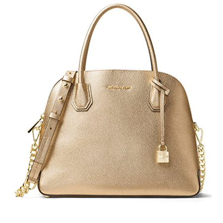 Womens Metallic Leather - MICHAEL Michael Kors Womens Mercer Metallic Leather Satchel Handbag