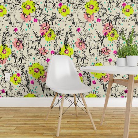 Removable Water Activated Wallpaper Woodland Floral Bunny Rabbit Fox F