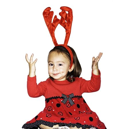 Christmas Reindeer Antlers / Ears Plush Headband - 14 Inches (Red), Imported By IcyDeals Ship from US](Reindeer Ears)