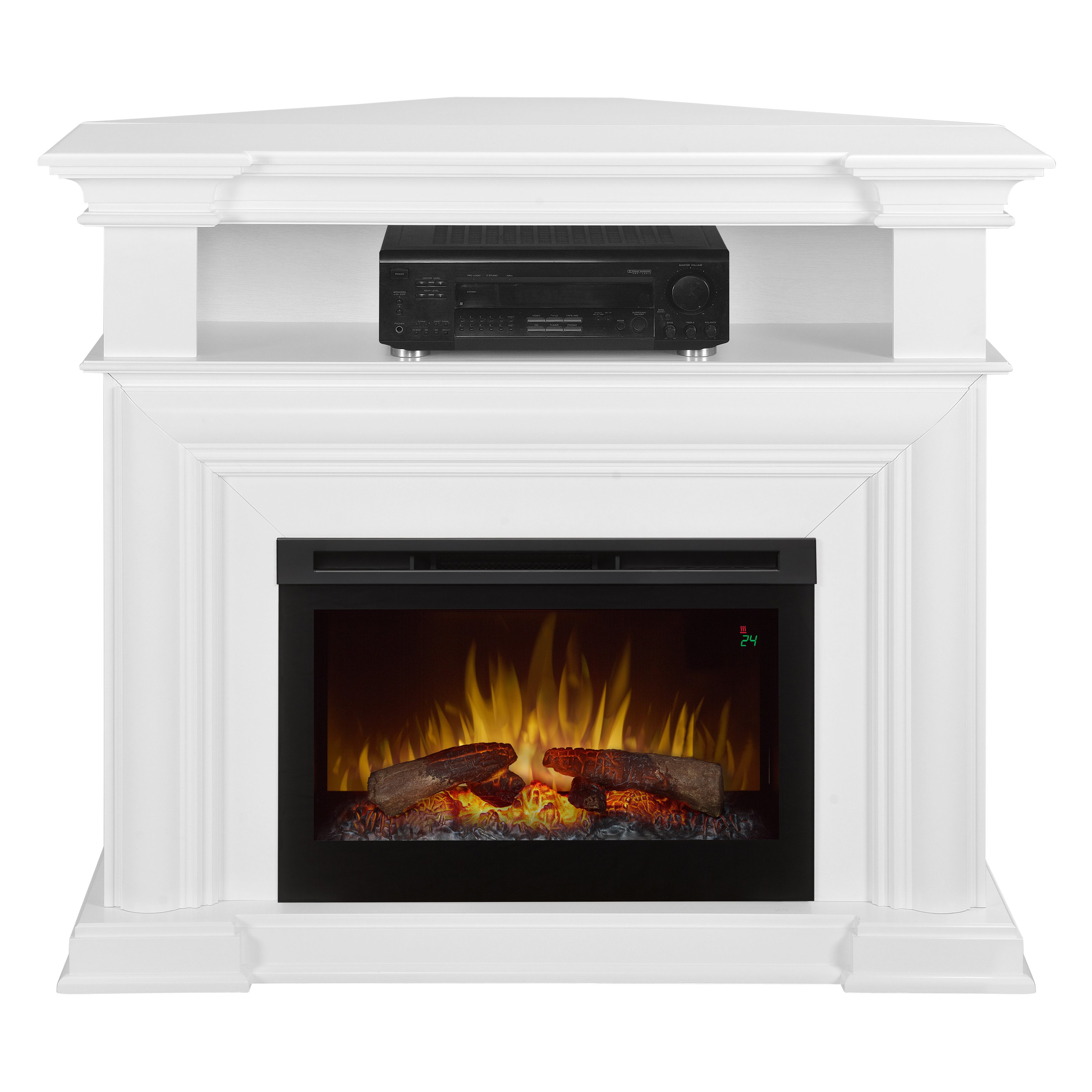 Electric Fireplace with Convertible Corner Option and Drop Down Front