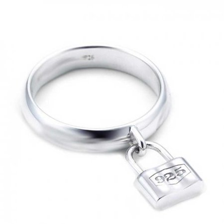 Love Lock Valentine Dangle Charm Padlock 925 Sterling Silver Polished Finish - Charm Ring
