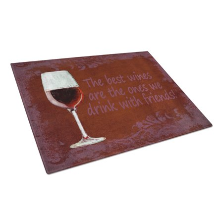 Caroline's Treasures The best wines are the ones we drink with friends Glass Cutting Board Large