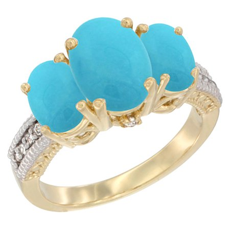 14K Yellow Gold Diamond Natural Turquoise Ring 3-Stone Oval 8x6mm, size 9
