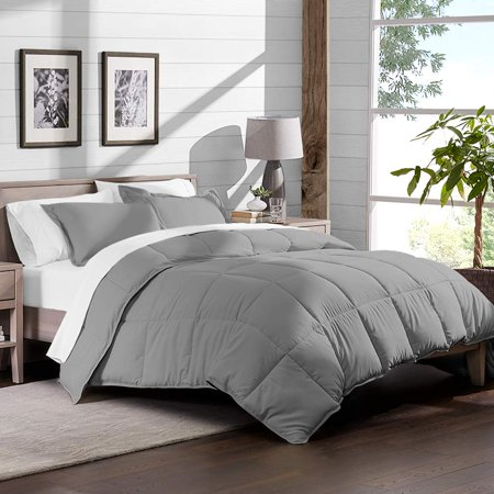 7 Piece Bed In A Bag Full Xl Comforter Set Light Grey Sheet Set