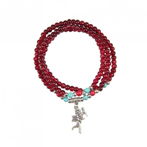 Zenses Handmade Elastic Red Agate Bracelet/ Necklace with Angel Charm (China)