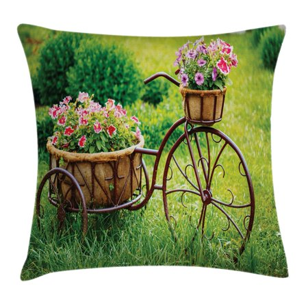 Flower Decor Throw Pillow Cushion Cover, Vintage Antique Rusty Bike with a Basket Flowers in a Spring Time Garden Photo, Decorative Square Accent Pillow Case, 18 X 18 Inches, Multicolor, by (Bike Throw Pillow)