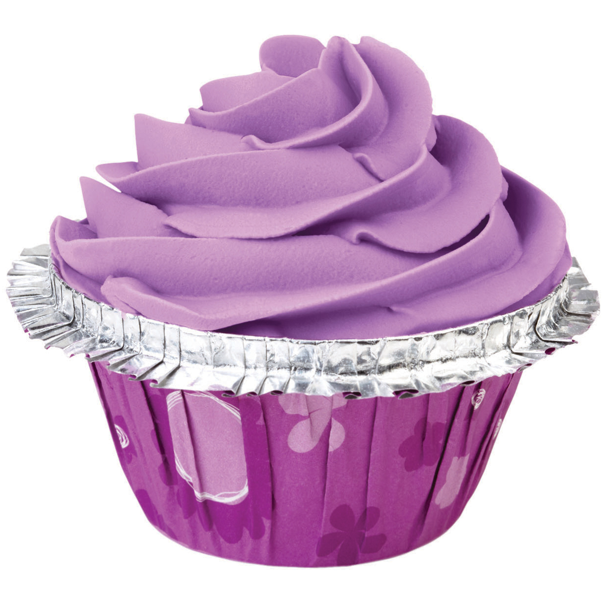 Standard Clearcup Double Ruffle Baking Cup-Purple Floral 12/Pkg