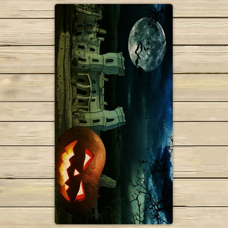 PHFZK Moon Towel, Pumpkin on Halloween against Scary Old Castle Hand Towel Bath Bathroom Shower Towels Beach Towel 30x56 inches](Halloween Scary Pumpkin Makeup)