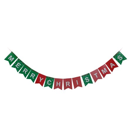 Left Side Banner - Christmas Paper Double Side Letters Ornament Photo Prop Bunting Banner Green Red
