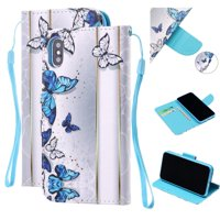iPhone XS Max Wallet Case, Dteck Slim Fit Painted PU Leather Magnetic Flip Folio Stand Case Cover With Hand Strap,Blue Butterfly