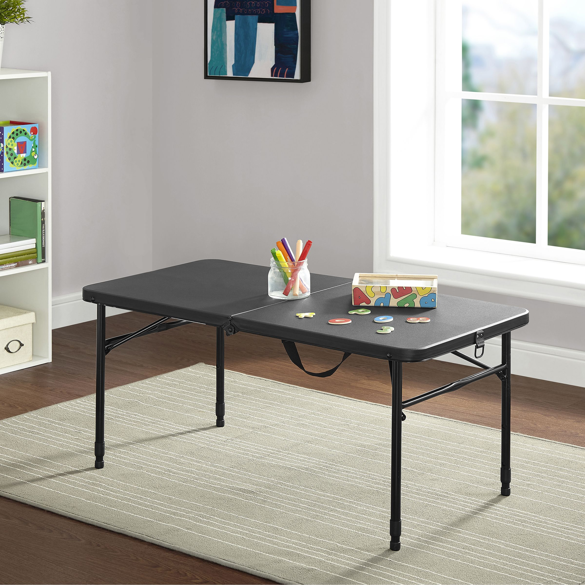 "Mainstays 40"" Fold In Half Table, Rich Black by Mainstays"