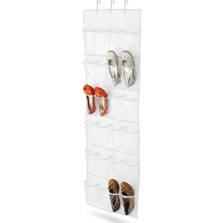 Honey Can Do 24-Pocket Over-the-Door Shoe Organizer, (Hanging Canvas Shoe Organizer)