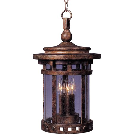 Outdoor Pendant 3 Light Bulb Fixture With Sienna Finish Viex Material Candelabra Bulbs 11 inch 120 Watts
