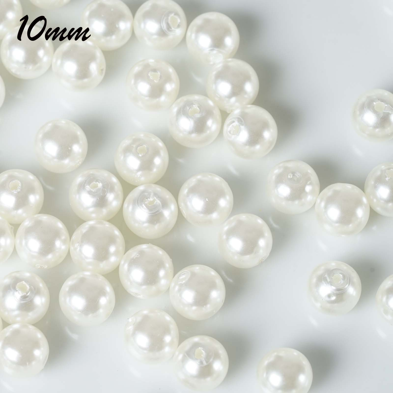 """BalsaCircle 10 mm or 0.39"""" wide Faux Pearls Loose Beads - Wedding Party Home Crafts DIY Favors Centerpieces Fillers Decorations"""
