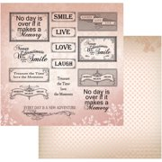 "Vintage Rose Garden Double-Sided Paper 12""X12""-Pink Words"