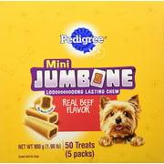 Pedigree Jumbone Mini Jumbones Dog Treats, Real Beef flavor, 1.98 Lbs. (50 Treats)