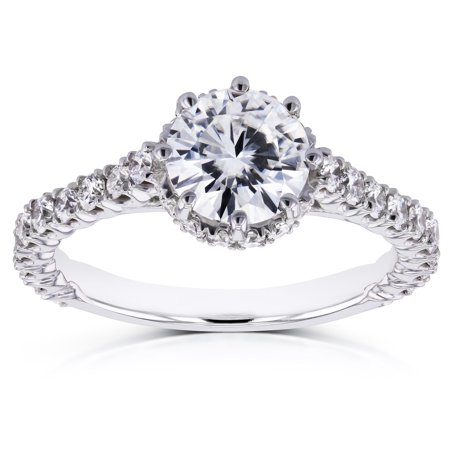 Round Moissanite 8-Prong Standing Halo Engagement Ring 1 3/5 CTW in 14k White Gold, Size 5, White Gold