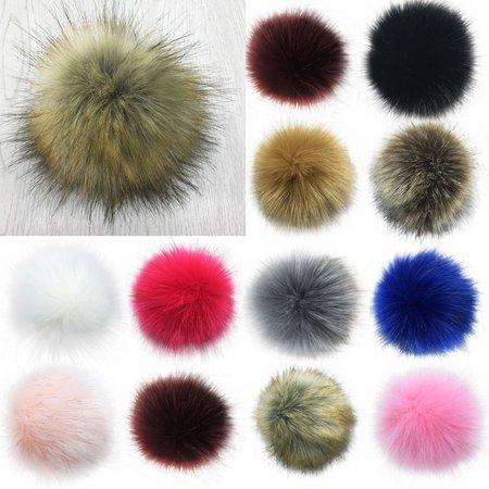 - Girl12Queen 14cm/16cm Soft Faux Fur PomPom DIY Car Handbag Keychain Fluffy Ball Pendant