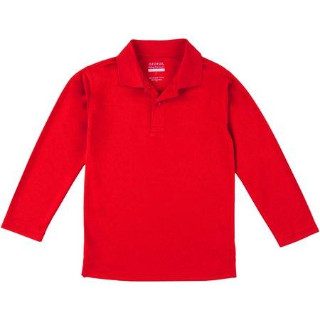 George school uniform boys long sleeve performance polo for Long sleeved polo shirts for boys